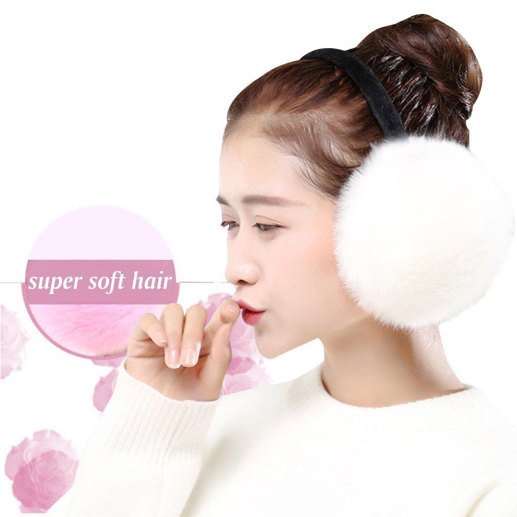 Fleece Earmuffs For Women Foldable Ear Warmers For Girls Winter Accessory Outdoor Ear Muffs (white)