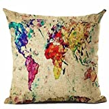 Pgojuni Map The World Print Pillow Cases Linen Cotton Sofa Cushion Cover Home Decor Sofa/Couch 1pc 45X45 cm (H)