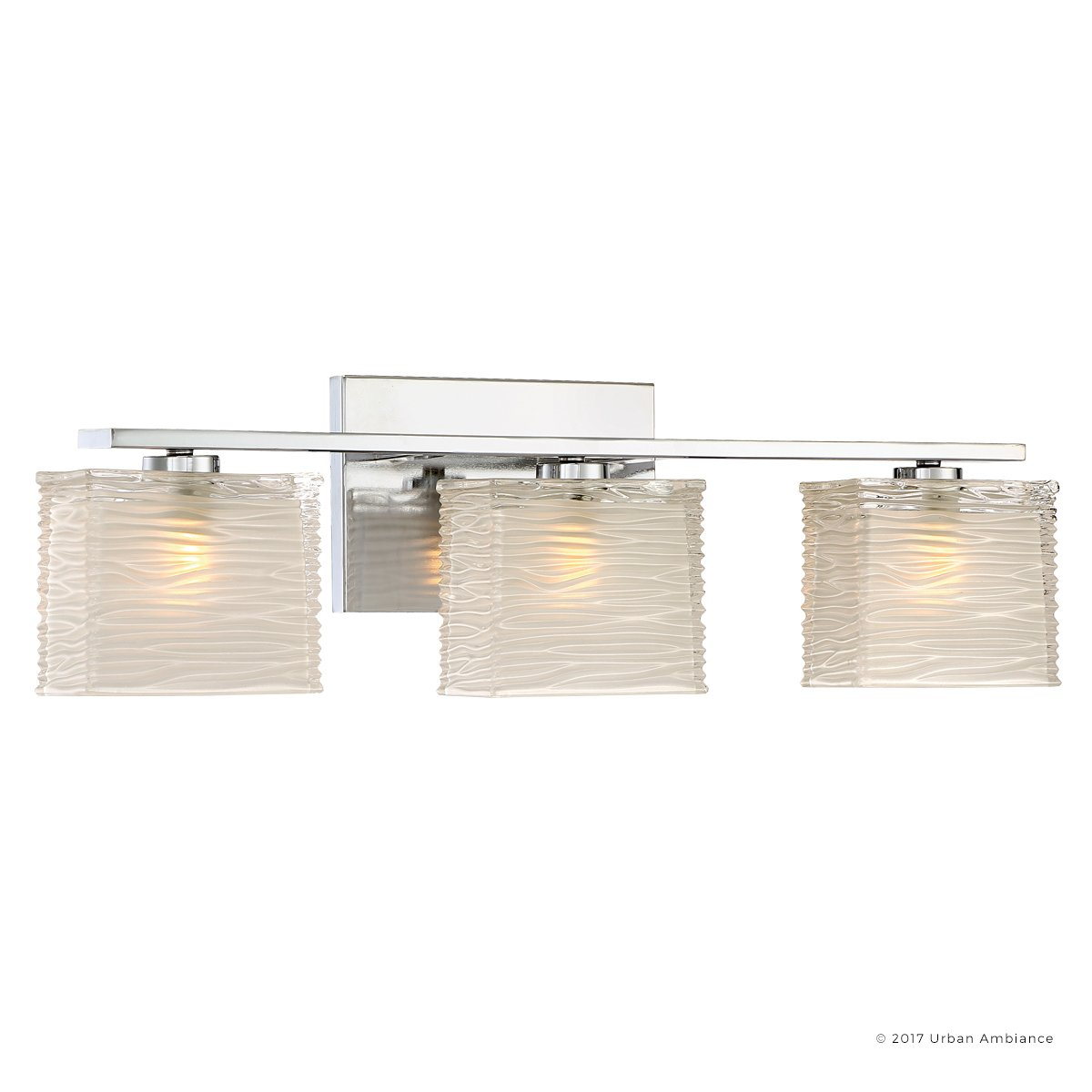 Luxury Modern Bathroom Light, Medium Size: 6.75''H x 22.5''W, with Style Elements, Polished Chrome Finish and Sandblasted Inner, Clear Wavy Outer Glass, G9 LED Technology, UQL2723 by Urban Ambiance