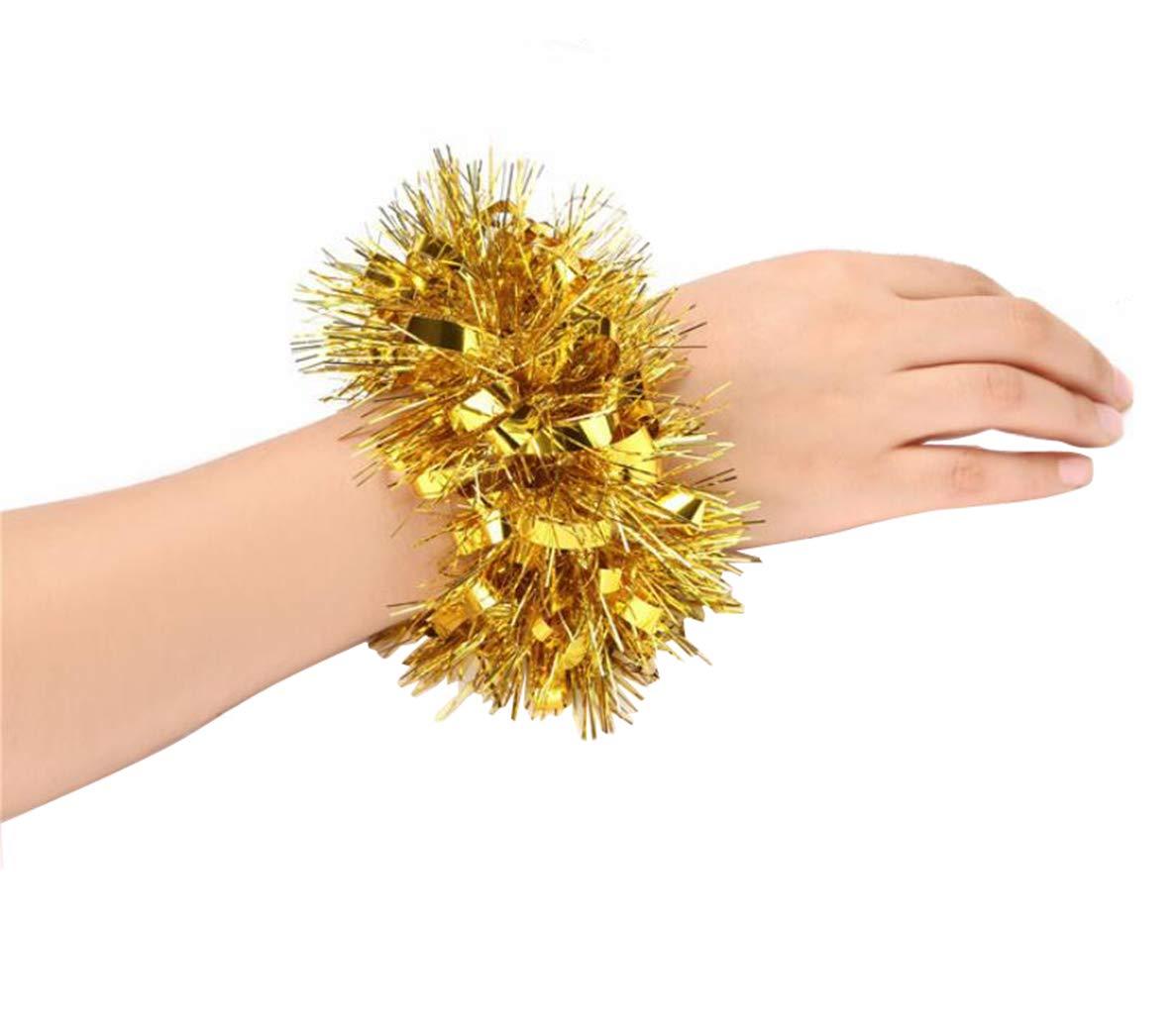 2PCS Cheerleading Cheerleader Hand Flower Wristband Sports Party Decoration Accessories Dance Pompoms Cheer Pom for Kindergarten Colleage Team Spirit Corporate Events Upstore 1Pair