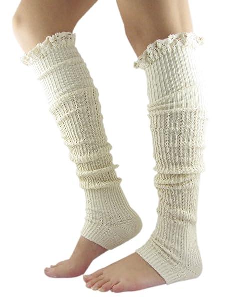 Novawo® Mujer Knit Encaje para calentadores de piernas Nice para botas de trabajo (con