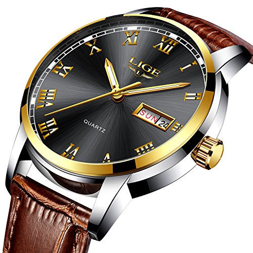Men sports Watches Black Dial Male Fashion Business quartz-watch,Leather Band Waterproof 30M wrist watches Man Auto Date (Auto Mens Watch)