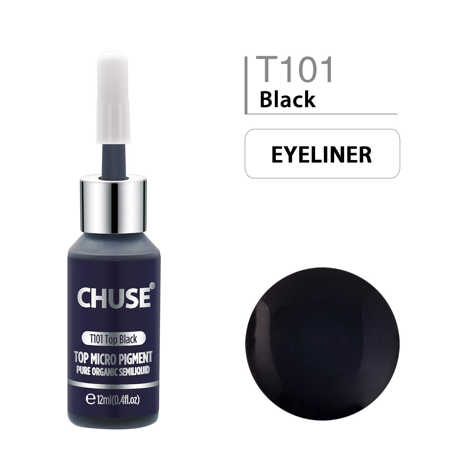 CHUSE T101, 12ml, Top Black, Passed SGS,DermaTest Top Micro Pigment Cosmetic Color Permanent Makeup Tattoo Ink