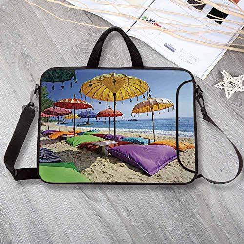 - Balinese Decor Anti-Seismic Neoprene Laptop Bag,Pristine Beach Bathed by The Bali Sandy Seashore Daytime Umbrellas Pillows Leisure Laptop Bag for Travel Office School,15.4
