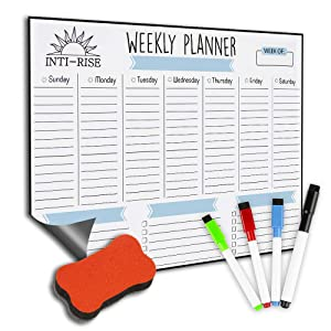 "Intirise - Magnetic Dry Erase Weekly Calendar for Refrigerator: Stain Resistant Technology – 12"" x 16"" – 4 Fine Tip Markers and Large Eraser with Magnets – Planner Whiteboard Organizer: To-do-List"