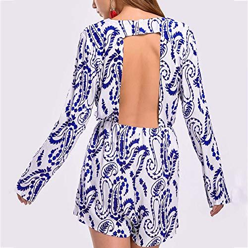 Mangas En Mono Cuello para con Largo Y Azul ALIKEEY Espalda Atractiva V Mujer Sin Estampado Larga n84gBwxq