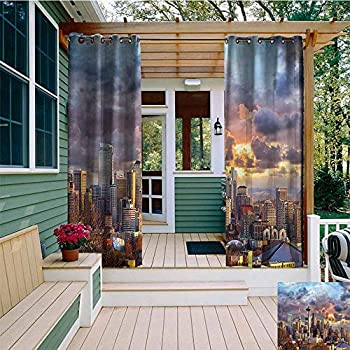 Image of AFGG Outdoor Curtain Panel for Patio,USA Seattle Skyline Dramatic Sunset,Room Darkening, Noise Reducing,W108x108L