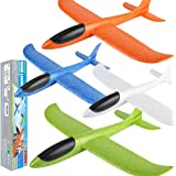 """BooTaa 4 Pack Airplane Toys, 17.5"""" Large Throwing Foam Plane, 2 Flight Mode, Foam Gliders, Flying Toys, Birthday Gifts for Bo"""