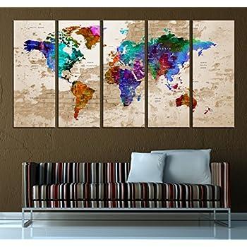 Amazon push pin world map canvas print watercolor wall art5 push pin world map canvas print watercolor wall art5 panel extra large wall art t584 gumiabroncs Images