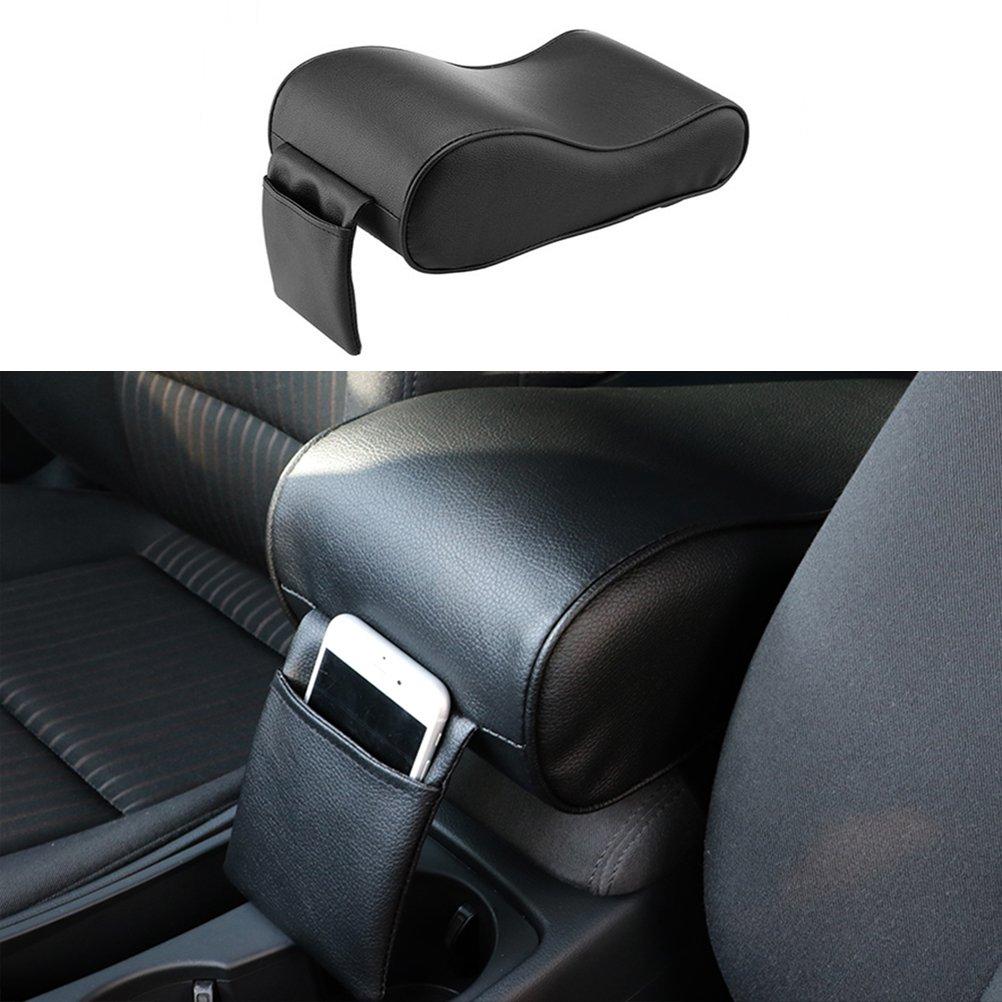 WINOMO Auto Consola de Center Coj/ín de Cuero Universal Soft reposabrazos Pad Rest Pillow Mat Negro