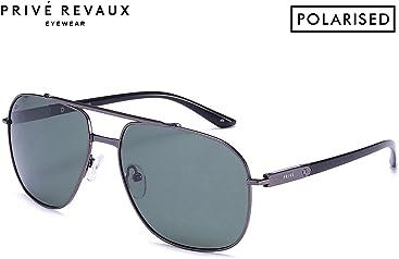 """PRIVÉ REVAUX """"The Dealer"""" Handcrafted Designer Polarized Aviator Sunglasses For Men & Women"""
