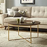 Round Wood and Glass Coffee Table WE Furniture AZF36ALCTDWG Wood Coffee Table, Dark Walnut/Gold