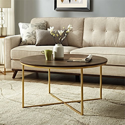 WE Furniture AZF36ALCTDWG Wood Coffee Table, Dark Walnut/Gold (High Walnut Laminate Top)