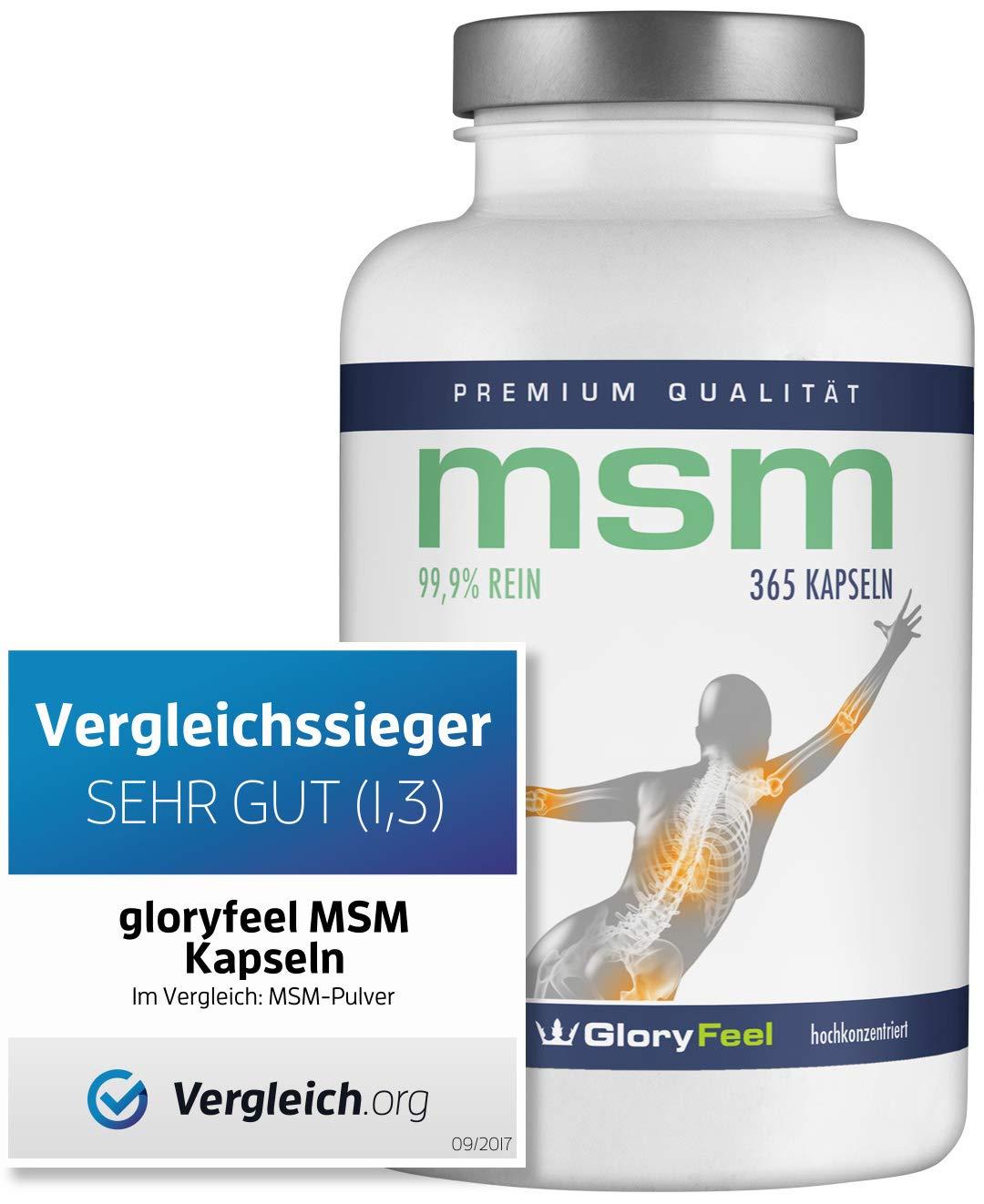 Der VERGLEICHSSIEGER 09/2018* - 365 MSM Kapseln Laborgeprüftes MSM-Pulver (Methylsulfonylmethan) Plus Vitamin C - Organischer Schwefel Ohne Magnesiumstearate Hergestellt in Deutschland product image