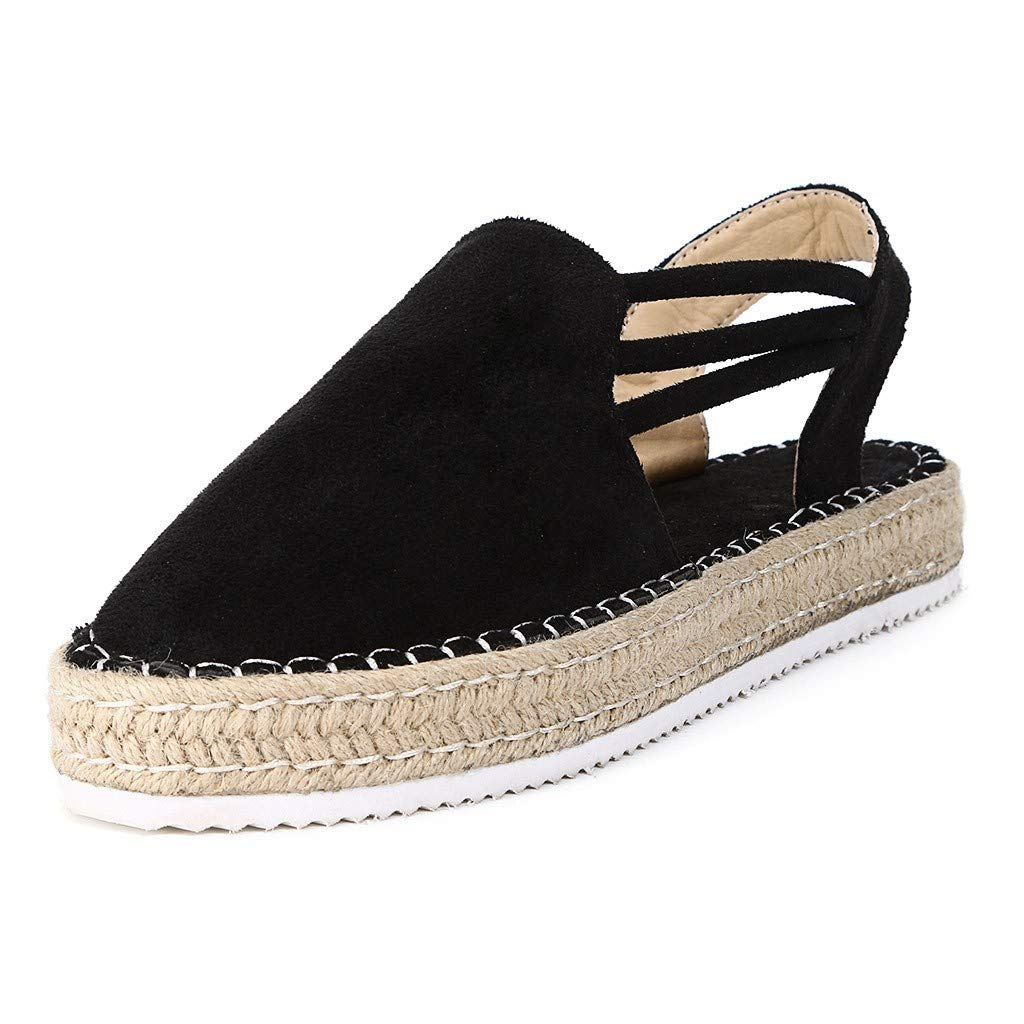VESNIBA Women Summer Fashion Sandals Buckle Strap Wedges Platform Retro Peep Toe Sandals Hemp, Thick Bottom, Women's Sandals Black by VESNIBA LLC (Image #1)