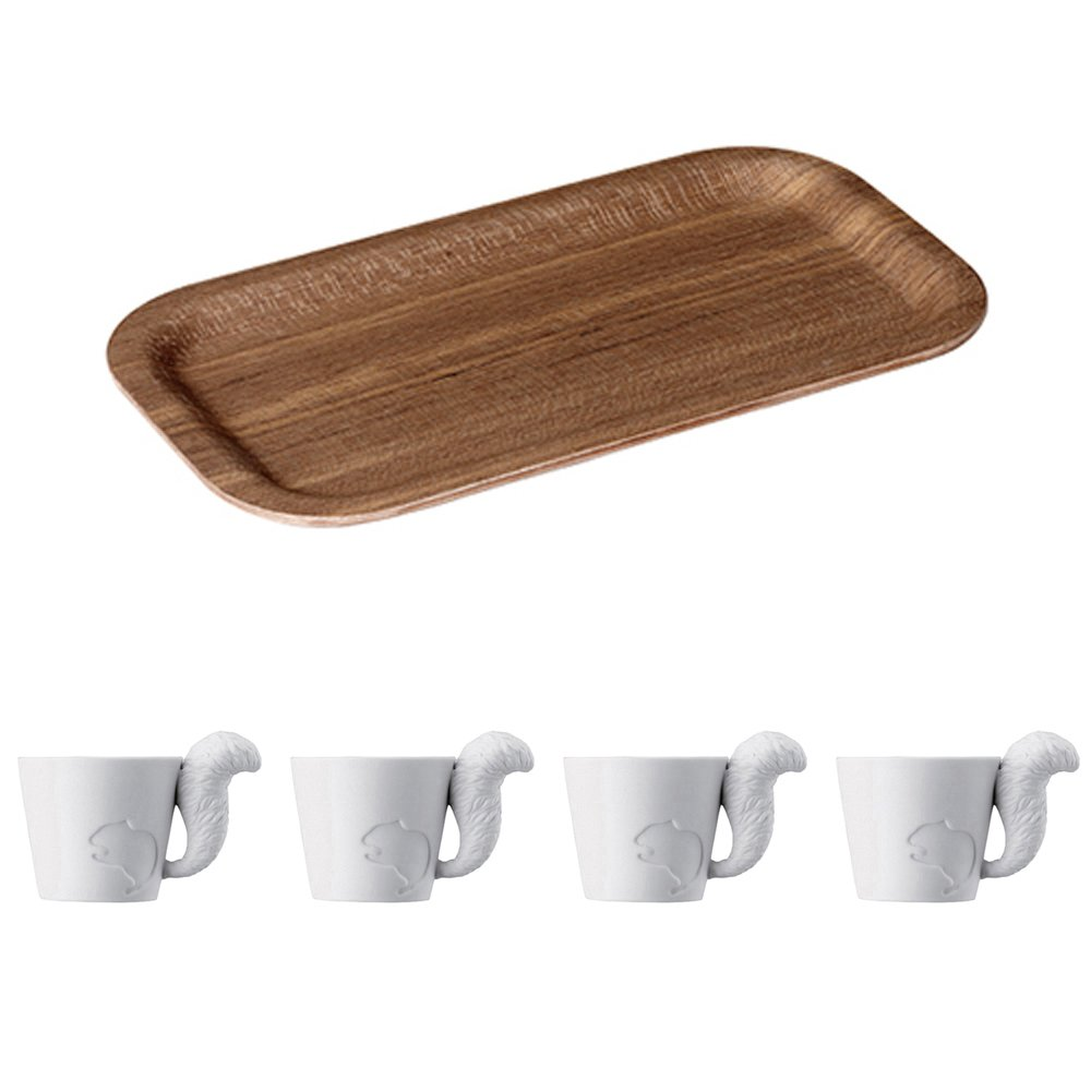 KINTO 8.7 inch Nonslip Slim Teak Tray and Four MUGTAIL Squirrel Porcelain Mug, Set of 5