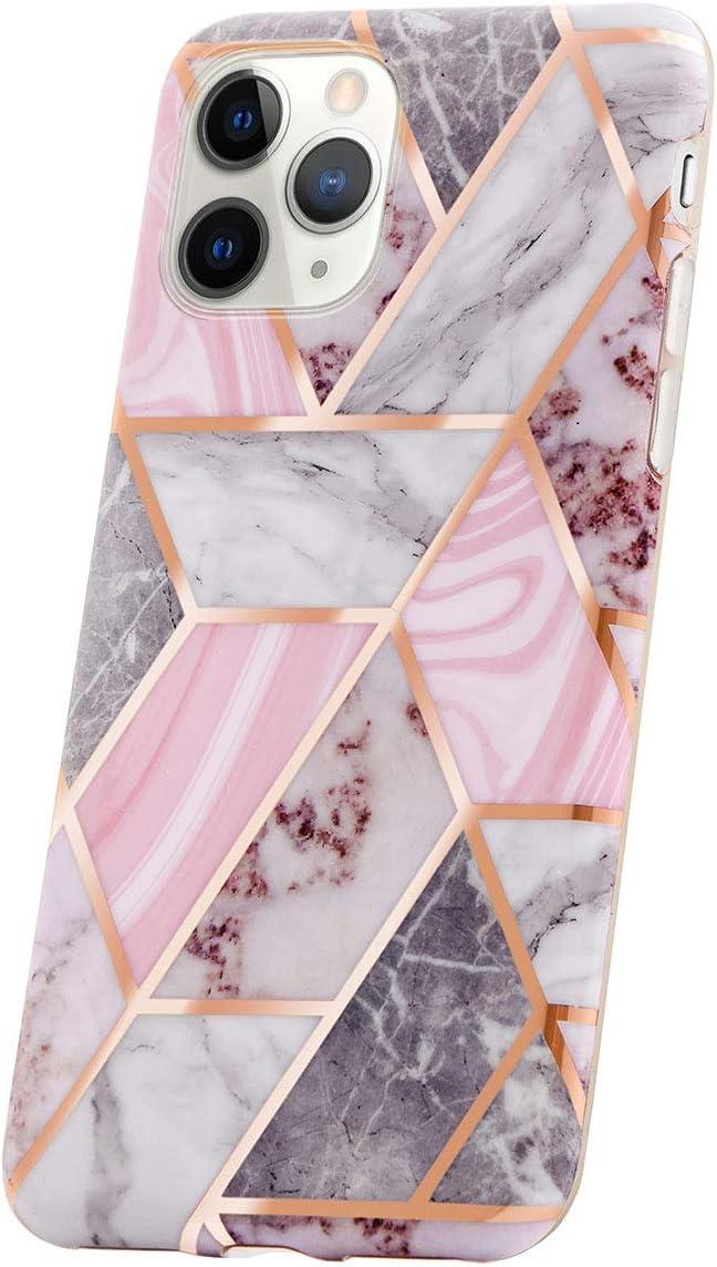 Carcasa para Móvil Compatible con iPhone 11 Pro MAX Funda Silicona Rosa Dura Bumper Teléfono Brillar Purpurina Caso Cubo de Purpurina de mármol Rosa