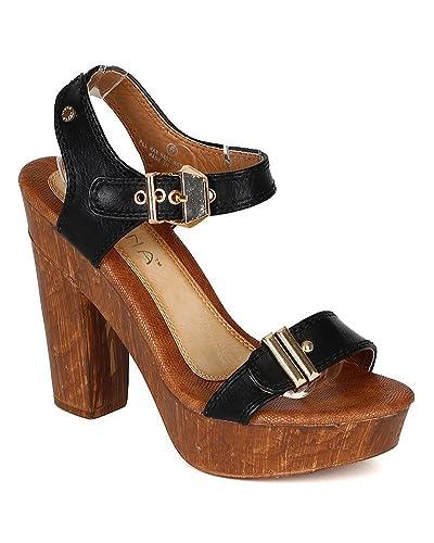 c2334d7308b Amazon.com   Liliana Women Leatherette Ankle Strap Faux Wood ...