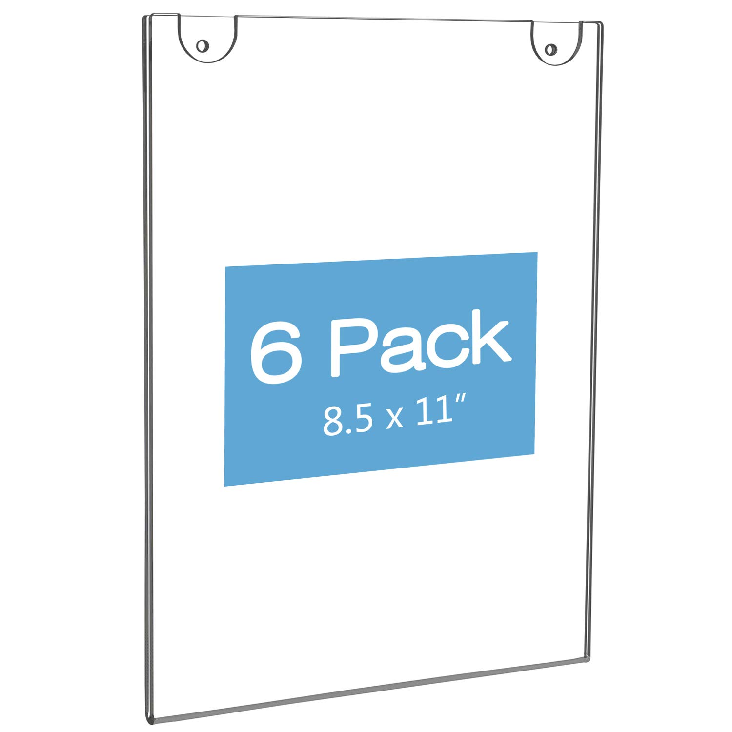 NIUBEE Acrylic Wall Sign Holder 8.5x11 Vertical, Clear Plastic Ads Frame for Paper, Bonus with 3M Tape and Mounting Screws(6 Pack) by NIUBEE