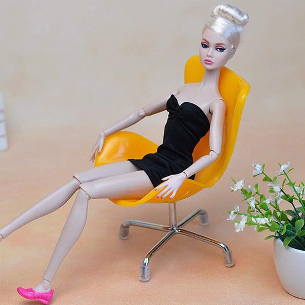 P Prettyia 1//6 Scale Miniature Chaise Plastique//M/étal Meubles de Maison de Poup/ée Cadeau danniversaire pour Enfant Orange