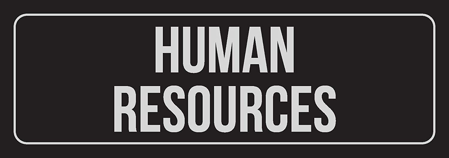 iCandy Combat Black Background with Silver Font Human Resources Business Retail Outdoor & Indoor Plastic Wall Sign - Single, 3x9 Inch