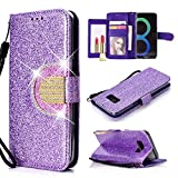 UEEBAI Wallet Flip Case for Galaxy S7 Edge,Glitter PU Leather Cover with Mirror [Diamond Buckle] [Card Slots] [Magnetic Clasp] Stand Function Gems Soft TPU Case for Samsung Galaxy S7 Edge - Purple#2