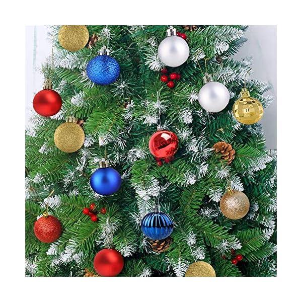 BLAZOR Palle di Natale,34pezzi Palline Addobbi Albero di Natalizie Ornamento Decorazione dell'albero Sfere di Natale Opaco Glitter Partito atrimonio Ornamento Natalizie Plastica Palle (Argento,4CM) 3 spesavip