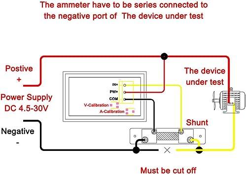comprobador de amperes de voltios con 50 A pantalla digital LED panel de doble pantalla para autom/óvil Droking Medidor de voltaje de 24 V CC con indicador de amper/ímetro de 4,5-30 V 0-50 A