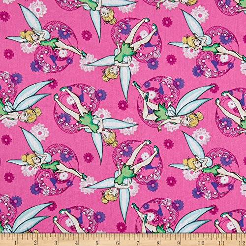 Springs Creative Products 0588925 Springs Creative Disney Tink Fashion Tinkerbell All Over Pink Fabric by The Yard, (Tinkerbell Fabric)