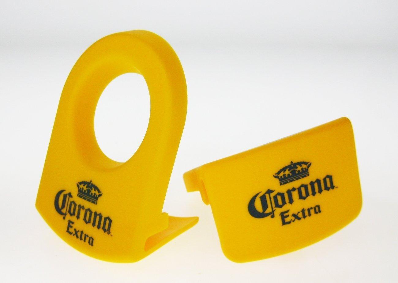 Mexican Glass Margarita Blue Rim 15 Oz with Coronarita Clips Corona Beer Holders Set of 4