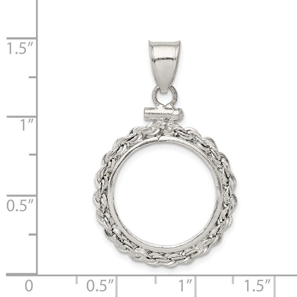 925 Sterling Silver Solid Polished Screw top 18 x 1.2mm $0.10 Rope Coin Bezel Pendant