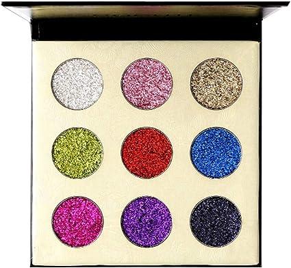 IYU_Dsgirh La Paleta de sombras de ojos - Bandeja para sombras de ojos en polvo dorado, 9 colores: Amazon.es: Belleza