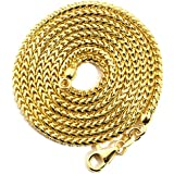 "LOVEBLING 10K Yellow Gold 2.2mm 24"" Solid Diamond Cut Franco Chain Necklace Lobster Lock"