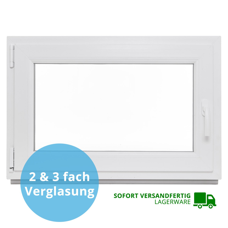 Premium 2 Fach BxH 120x80 cm au/ßen Anthrazit Kellerfenster PVC Fenster innen wei/ß Dreh Kipp BxH 120x80 cm DIN Links