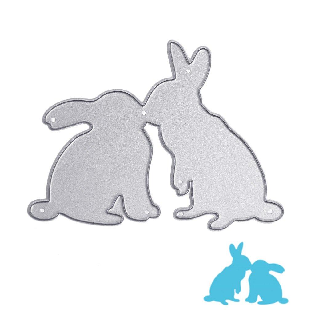 Amazon.com: Hunulu Kiss Rabbits Cutting Dies Metal Paper Stencil ...