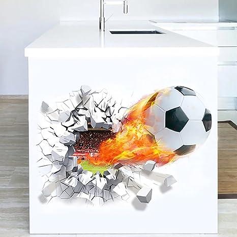 Wandsticker4u Wandtattoo In 3d Optik Fussball Mit Feuer Wandbilder 70x50 Cm Wandsticker Wm Em Stadion Arena Mauer Wand Aufkleber Turaufkleber