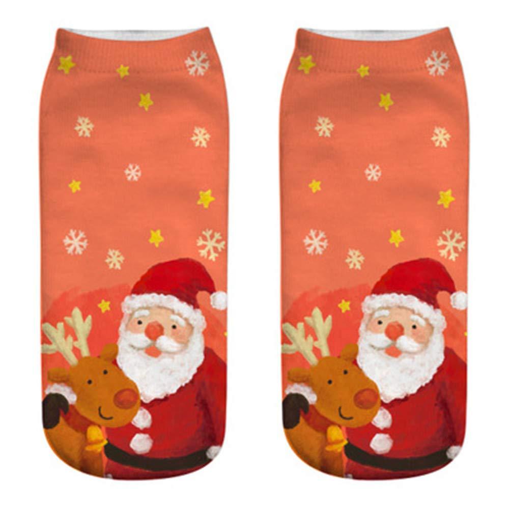Christmas Socks,Comfortable Cotton Slippers Short Print Ankle Socks