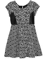 Bonnie Jean Little Girls' Diamond-Print Scuba Skater Dress Size 6