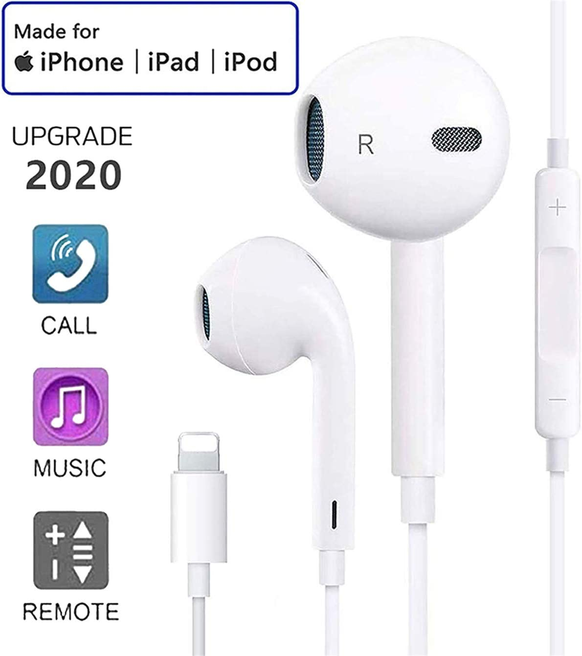 Earphones for iPhone Earbuds In Ear Headphones Built in MicCall & Volume Control Stereo Powerful Bass Noise Isolating Phone Headset for iPhone 77