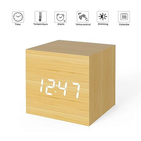 Hoovo LED Reloj Despertador Digital Hora del Cubo de Madera Temperatura Pantalla de Fecha y Sonido
