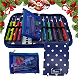 BEST CROCHET HOOK SET WITH ERGONOMIC HANDLES FOR EXTREME COMFORT. Perfect Crochet Hooks for Arthritic Hands, Smooth Needles for Superior Results & 22 Knitting Accessories to use with all Yarns