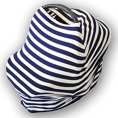 Nursing Cover and Infinity Scarf | Stretchy, Cotton Breastfeeding Covers & Scarves | Car Seat Cover & Canopy | Cart and Highchair Covering | Navy & White Stripes Baby Car Seat & Shopping Cart Cover Cotton Stripes Car Seat Cover