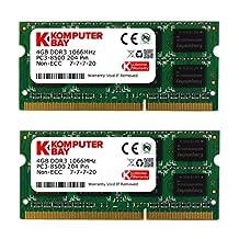 Komputerbay with Samsung semiconductors 8GB Dual Channel Kit 2x 4GB 204pin DDR3-1066 SO-DIMM 1066 PC3-8500 (1066MHz, CL7)