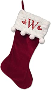 Monogrammed Christmas Stocking, Red Stocking with Balls, Red Serif Glitter Initial W