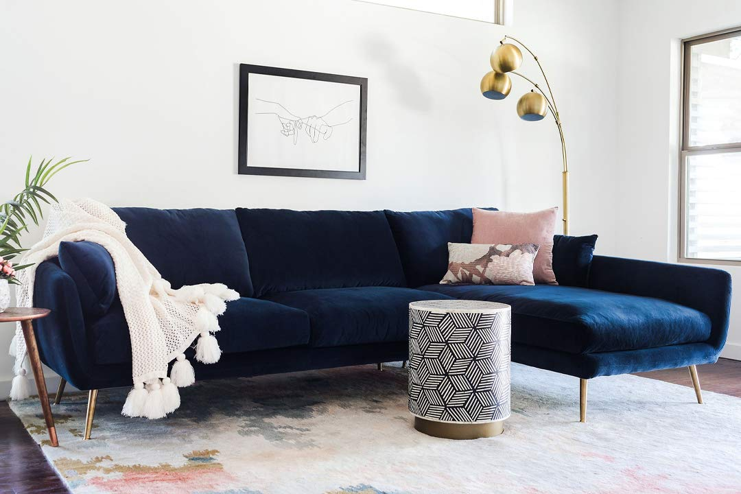 Edloe Finch Modern Sectional Sofa Right Facing Chaise Down Down Feather  Cushions, Blue Velvet