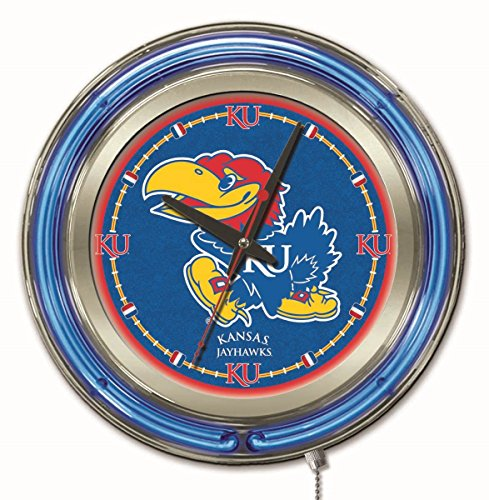 Holland Bar Stool Co. NCAA Kansas Jayhawks Double Neon Ring 15-Inch Diameter Logo Clock