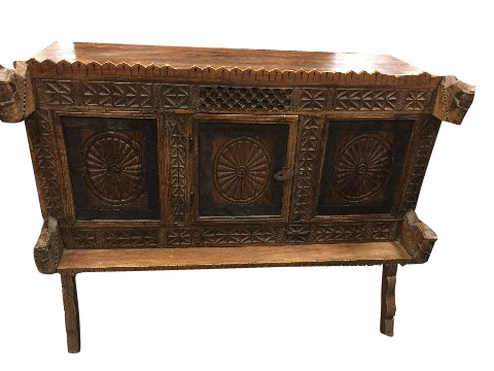 Antique Indian Sideboard Chakra Chest Carved Vintage Teak Wood Rustic Buffet 18c