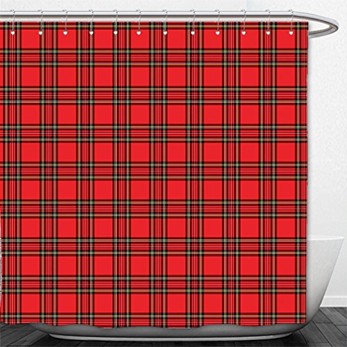 Interestlee Shower Curtain Red Red and Black Plaid Pattern Scottish Striped Tartan Traditional Graphic Illustration Red Black (Curtains Red Flowered)