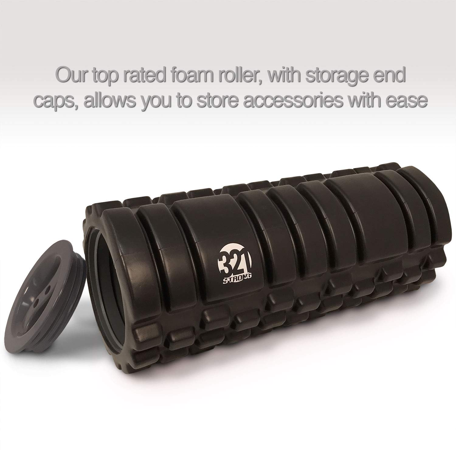 Muscle Roller Stick 321 STRONG 5 in 1 Foam Roller Set Includes Hollow Core Massage Roller with End Caps Grey Stretching Strap All in Giftable Box all in Giftable Box Double Lacrosse Peanut Spikey Plantar Fasciitis Ball