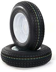 "Set of 2 Trailer Tire + Rim 13"" White Spoke Trailer Wheel with bias ST175/80D13 Tire Mounted (5x4.5) bolt circle"